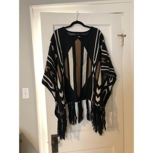 West 36th tribal pattern poncho sweater